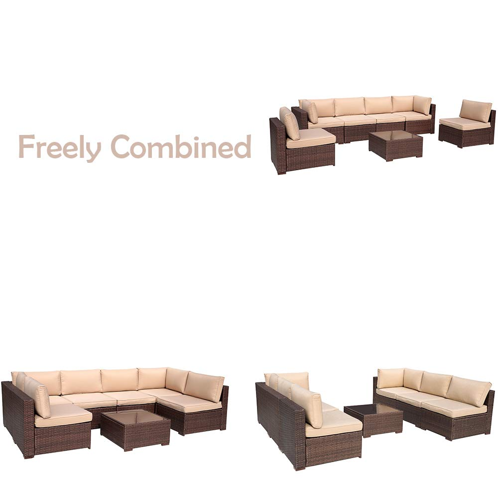 OC Orange-Casual 7 Pieces Wicker Patio Furniture Set with Glass top Coffee Table, Brown Rattan Beige Cushion for Garden, Barkyard,Poolside