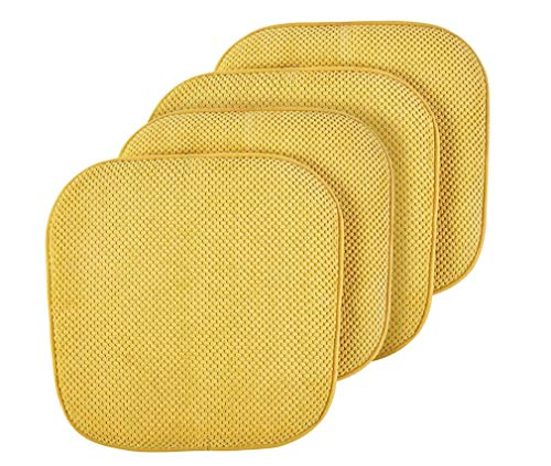 GoodGram Premium Soft Surface Ultra Comfort Non-Slip Kitchen & Dining Curved Memory Foam Chair Cushions - Assorted Colors (Gold, 4 Pack)