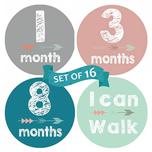 Baby Milestone Stickers, 16 Pack MALOMME Baby Monthly Stickers 12 Months + 4 Achievement Stickers Age Milestone Stickers for Boy and Girl Baby Photo Props Best Baby Gift