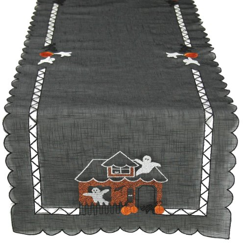 Xia Home Fashions Haunted House Embroidered Cutwork 15-Inch by 54-Inch Halloween Table Runner -