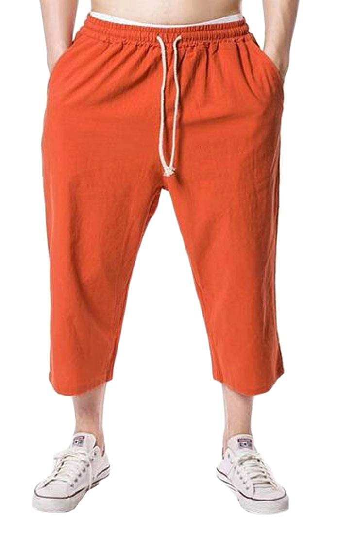 ARTFFEL Men Casual Solid Color Drawstring Loose Fit Beach Cropped Pants Casual Trousers