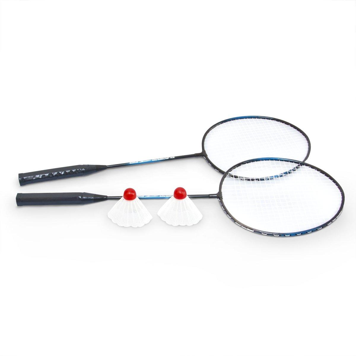 Badminton Federball Set 4-teilig Blau-Schwarz Aluminium