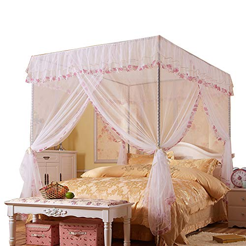 (JQWUPUP Mosquito Net for Bed - 4 Corner Canopy for Beds, Canopy Bed Curtains, Bed Canopy for Girls Kids Toddlers Crib, Bedroom Decor (Twin Size, White))