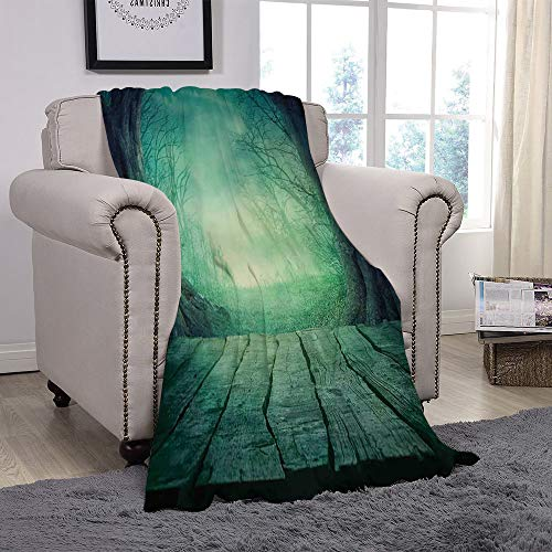 SCOCICI Super Soft Throw Blanket/Gothic,Spooky Scary Dark Fog Forest with Dead Trees and Wooden Table Halloween Horror Theme Print,Blue/for Couch Bed Sofa for Adults Teen Girls Boys ()