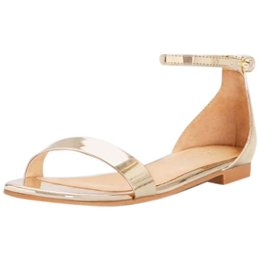 David's Bridal Single-Strap Mirror Metallic Flat Sandals Style Marlie, Gold Metallic, 10