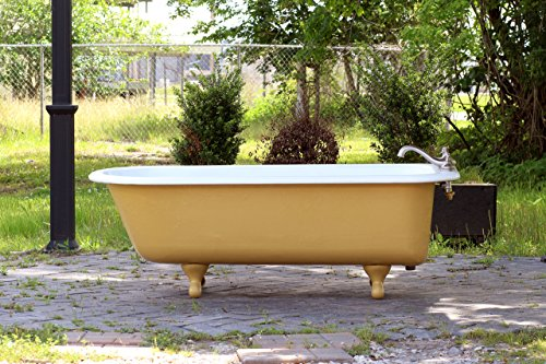 Antique 5.5' Refinished 1920's Clawfoot Bathtub India Yellow Cast Iron Porcelain Claw Bathtub Package by re