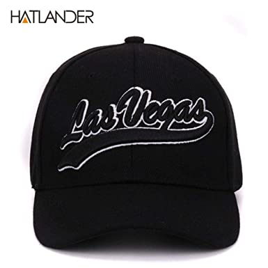 Hatlander New York Black Baseball caps Las Vegas Adjustable Sports Cap Gorras (Black Las Vegas