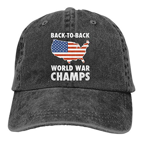 Mens Womens Baseball Cap Back to Back World War Champs Adjustable Denim Trucker Hat for Women ()