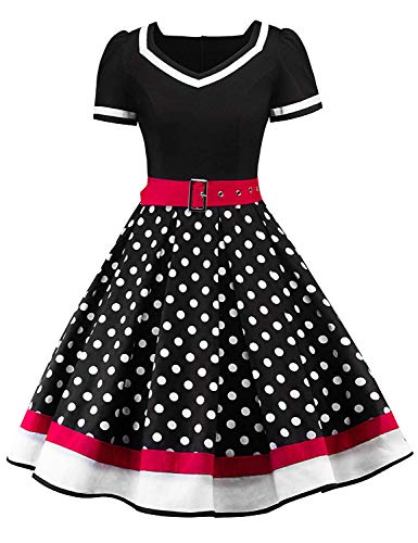 Nihsatin Women's Vintage 1950s Retro Rockabilly Swing Cocktail Dresses with Belt (Best Fashion Style For Plus Size)