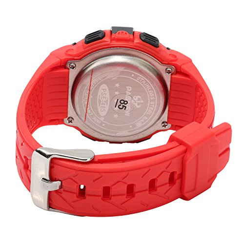 Kids Boys Girls Digital Multi Function Sports Water Resistant 7-Colors Backlight Wrist Watches (RED) by HOWOD (Image #1)