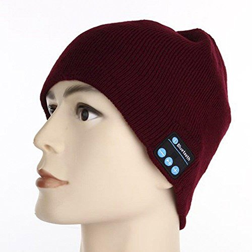 WAYMAY Wireless Bluetooth Knit Hat Music Cap Hands-free Phone Call Answer Ears-free Beanie Hat (Wine Red)