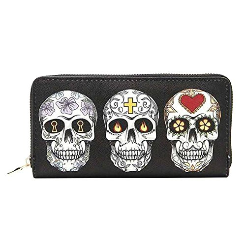 Badiya Gothic 3 Pretty Sugar Skull Wallet for Women Vintage Clutch Bag Halloween Gift