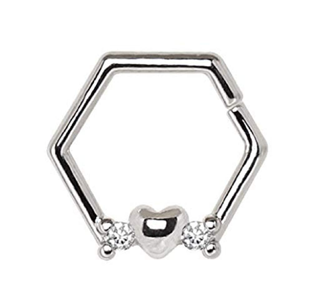 Freedom Fashion 316L Surgical Steel Heart Hexagon Captive Bead Ring//Cartilage Earring Sold Individually