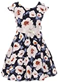 Little Girl Girls Dress Floral Graduation Summer Birthday Flower Girl Dress USA Navy 4 JKS 2126