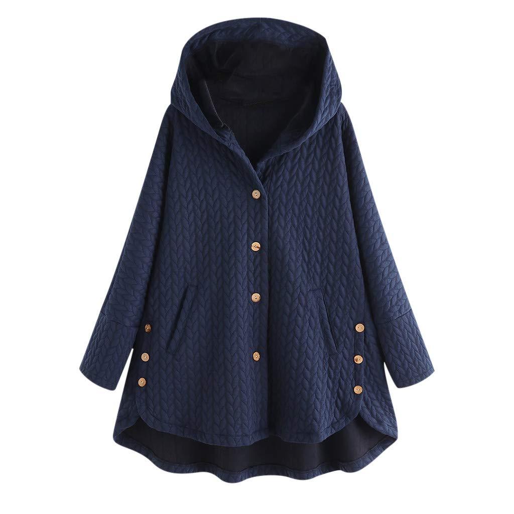 TWGONE Fleece Jacket Women with Hoodie Plus Size Button Pockets High Low Long Sleeve Hooded Coat(Medium,Navy) by TWGONE