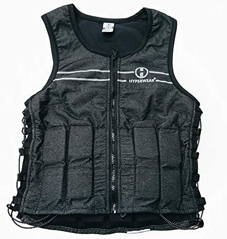 Hyperwear Hyper Vest FIT Adjustable Weighted Vest Women 5 lb or 8 lbs Running Walking Workouts Metallic Black Reflective Thin 1 2 lb Weights Designed Comfortable Female Fit