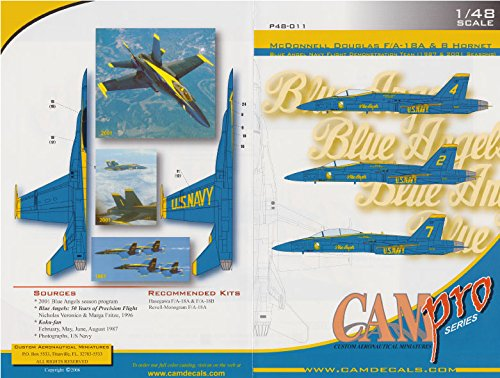 CAMP48011 1:48 CAM Pro Decals - F-18A F-18B Hornet Blue Angels 1987 & 2001 [WATERSLIDE DECAL SHEET]