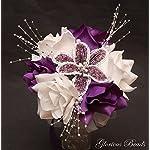 PURPLE-BEADED-Flower-Lily-Wedding-Quincenarea-Bouquet-16-PC-Set-with-FREE-Boutonnieres