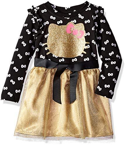 Hello Kitty Toddler Girls Embellished Tutu Dress, Black/Gold, 4T