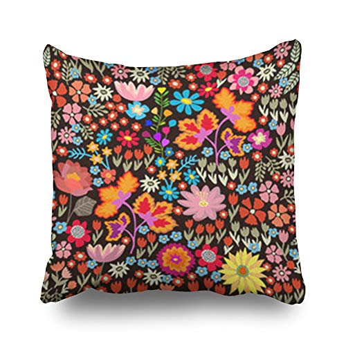 Decor Champ Throw Pillow Covers Bohemian Small Autumn Flowers Art Pattern Chrysanthemums Pillowcase Square Size 16 x 16 Inches Decorative Home Sofa Cushion Cases - Robe Envelope Red Cotton