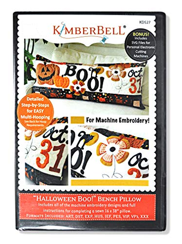 KimberBell - Halloween Boo! Bench Pillow Machine Embroidery CD -