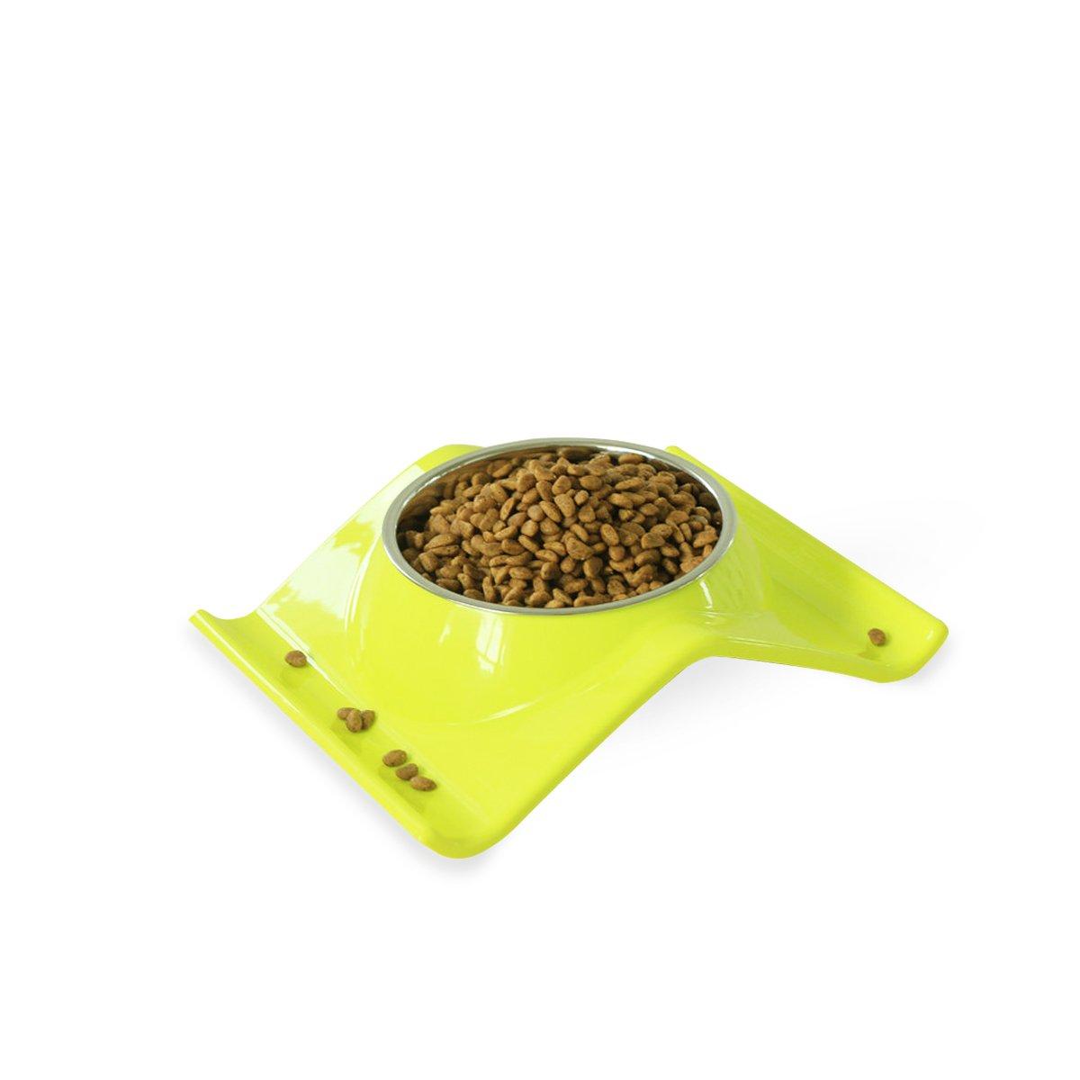 PETCUTE Lindo Perro Doble Gato Cuencos de Acero Inoxidable Mascotas Cuencos No-derrame no Derrame Alimentos Para Mascotas Alimentador de Agua Amarillo