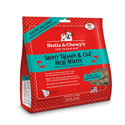 Stella & Chewy's Freeze-Dried Raw Savory Salmon & Cod Meal Mixers Grain-Free Dog Food Topper, 9 oz bag