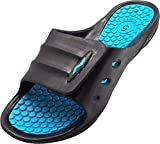 NORTY Women's Slide Strap Shower Sandal, Black, Teal 40332-8B(M) US