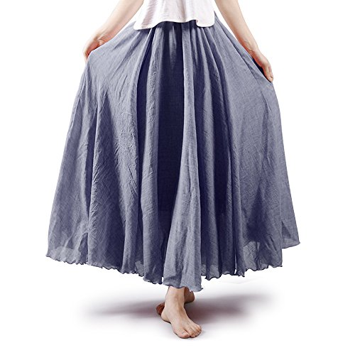 OCHENTA Women's Bohemian Elastic Waist Cotton Floor Length Skirt, Flowing Maxi Big Hem 95CM Grey]()