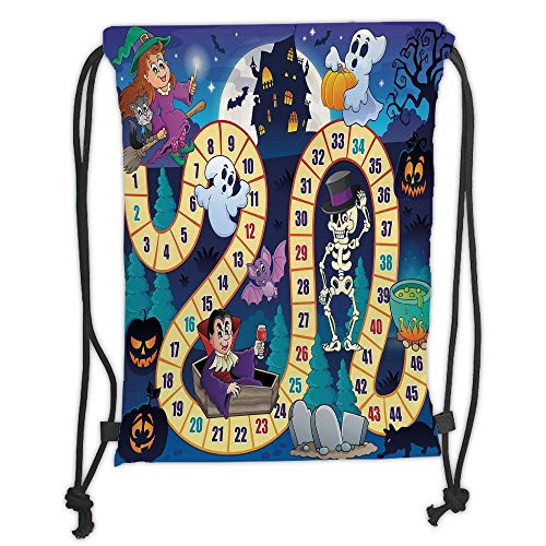 New Fashion Gym Drawstring Backpacks Bags,Board Game,Halloween Theme Symbols Happy Witch Girl Vampire Ghost Pumpkins Happy Comic,Multicolor Soft Satin,Adjustable String -