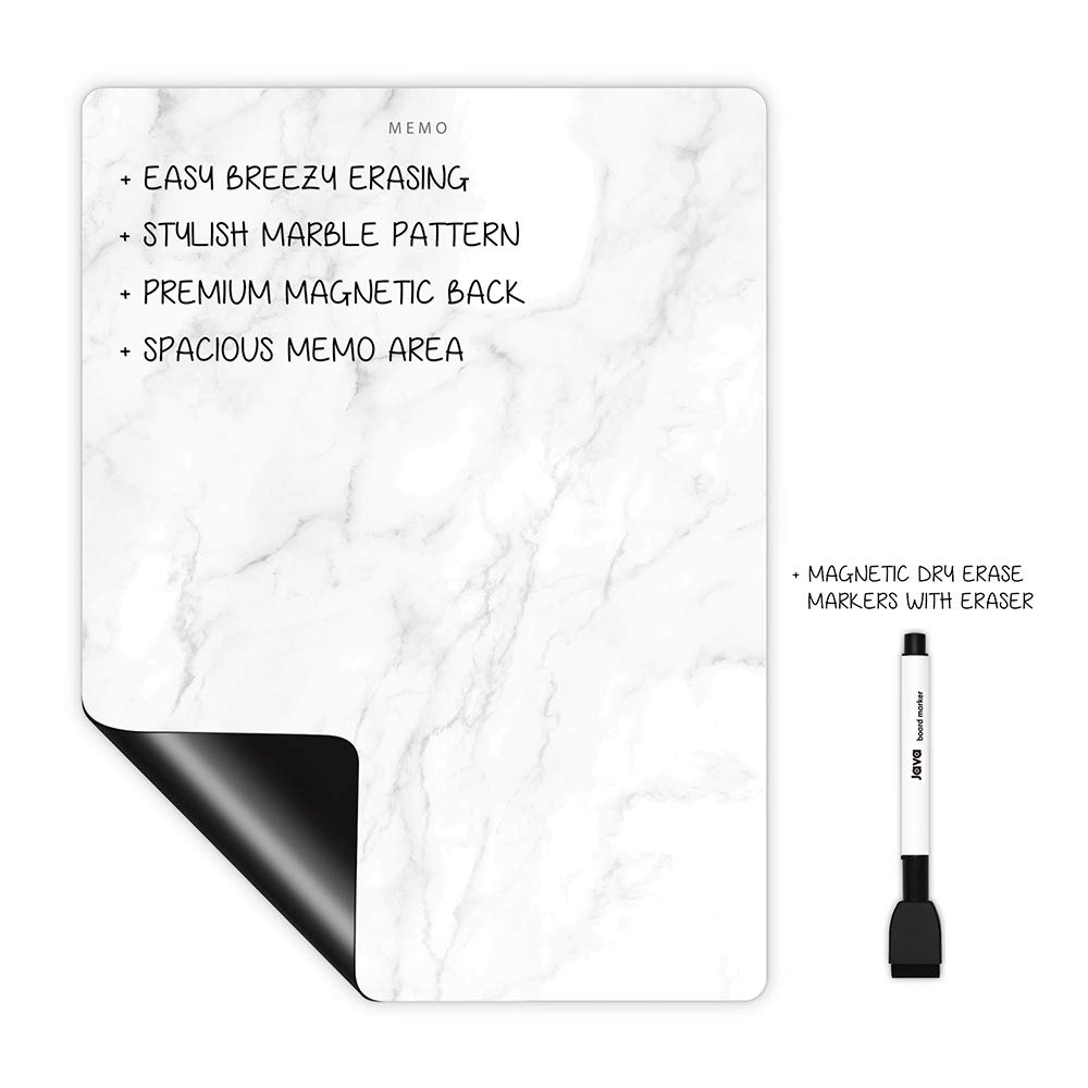 Magnetic Dry Erase Whiteboard Sheet 12'' x 16'' for Refrigerator/Marble/Includes 1 Marker by Littlie