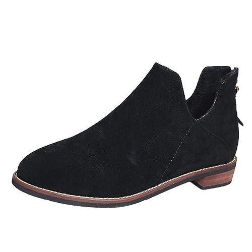 ALIKEEY Zapatos De Punta Redonda para Mujer Botines De Color Puro Zapatos con Tacón Cuadrado con Cremallera Botas Deportivas Reebok Libre, Mizuno Verdes: ...