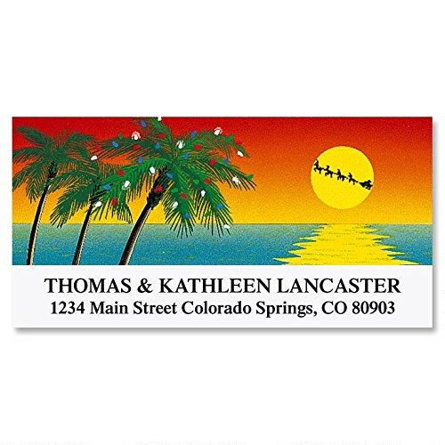 Tropical Holiday Self-Adhesive, Flat-Sheet Deluxe Address Labels