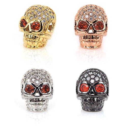 - SouthBeat Punk Skull Head Crystal Zircon Beads for Women Men Braid Bracelet Charm Beads DIY Jewelry Making 9x13mm 10Pcs MixColor