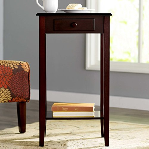 Telephone Table Simple Silhouette and Cherry Finish Coordinates with Any Décor Made of Wood Rectangular Shape