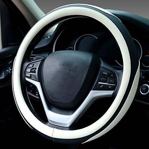 Didida Steering Wheel Covers Soft Matte Microfiber Leather Non-Slip Sweat-Absorbent for Women Men Universal 15 Inch Car Decoration (White)