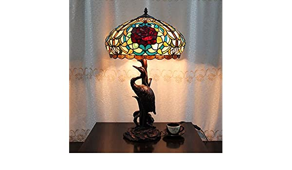 18 pulgadas Vintage Rose Pastoral de Lujo Europea Tiffany lámpara ...