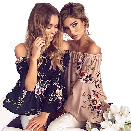 Sweetichic Women's Casual Floral Off the Shoulder Bell Sleeve Chiffon Blouse Shirt Tops (L, Apricot)
