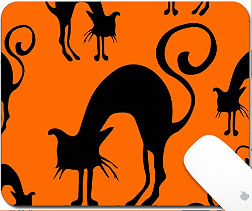 Luxlady Gaming Mousepad 9.25in X 7.25in IMAGE: 44082601 Halloween seamless pattern black and orange with cats hand drawn (Halloween Greetings Clipart)