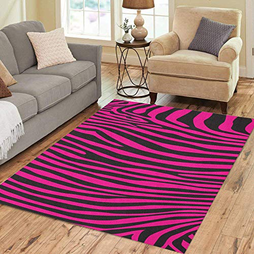Pinbeam Area Rug Black Pink Zebra Stripes Pattern African Painting Abstract Home Decor Floor Rug 3' x 5' Carpet