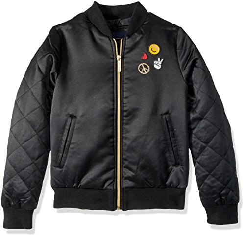 LiMiTeD Too Big Girls' Too Bomber W/Patches and Quilted Sleeves, Black, 10/12