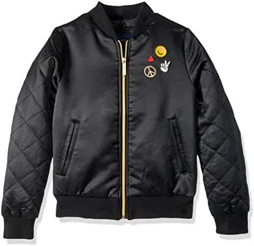 Limited Too Girls' Too Bomber W/Patches and Quilted Sleeves