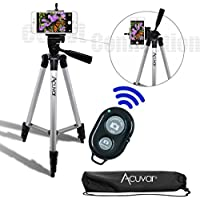 Acuvar 50 Inch Aluminum Camera Tripod with Universal Smartphone Mount + Bluetooth Wireless Remote Control Camera Shutter for Smartphones