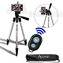 "Acuvar 50"" Inch Aluminum Camera Tripod with Universal Smartphone Mount + Bluetooth Wireless Remote Control Camera Shutter for Smartphones"