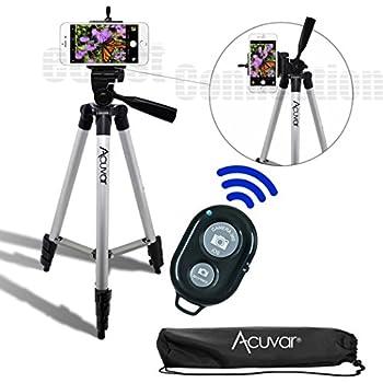 "Acuvar 50"" Inch Aluminum Camera Tripod with Universal Smartphone Mount + Bluetooth Wireless Remote Control Camera Shutter for Smartphones"