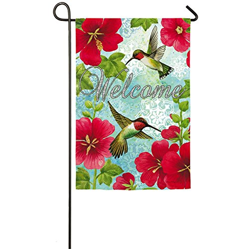Hummingbird & Hollyhock Suede Garden Banner 12-1/2 in x 18 (Hummingbird Banner)