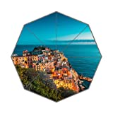 Flipped Summer Y Beautiful Manarola at Night, Cinque Terre, Italy Customized Art Prints Umbrella