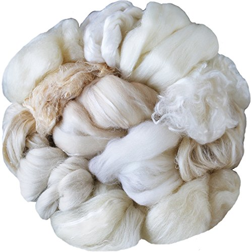 Tapestry Thread (Assorted White Merino Roving Ends & Mixed Fiber Waste - Bulk Top Fiber for Felting, Spinning, Blending & Hand Dyeing)