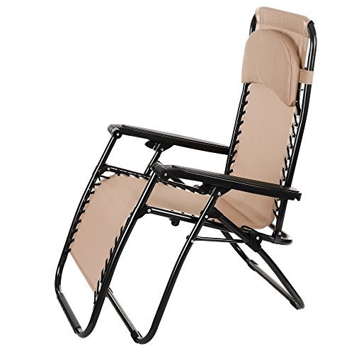 Adjustable Chaise Khaki - Asatr 300 lbs Capacity Folding Beach Chaise Chair Lock Chair Zero Gravity Chair with Durable Pillow (Type2 Khaki)