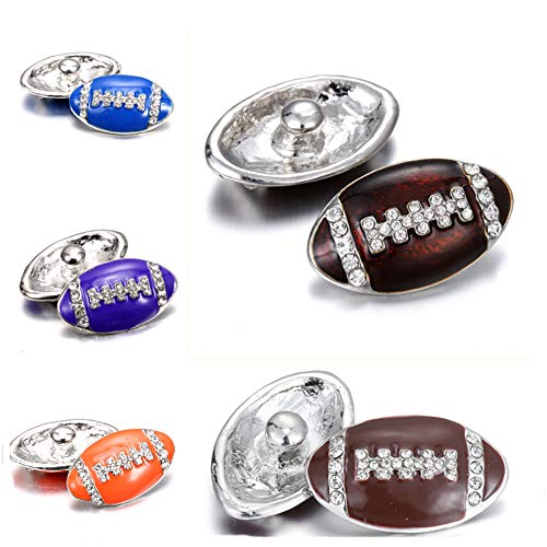 Lovglisten New 5pcs Snap Jewelry Charms 18mm Football Shape Snap Buttons Jewelry Fit 18mm Snap Jewelry Bracelet]()